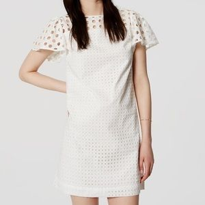 LOFT Eyelet Flutter Sleeve Shift Dress White 10 L